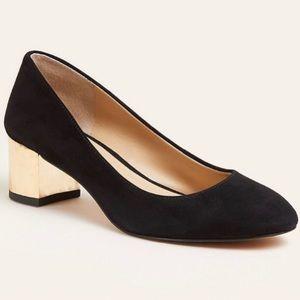 Ann Taylor black and gold block heel pump